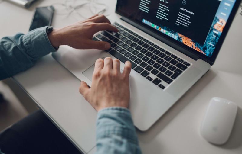 website developer on the laptop